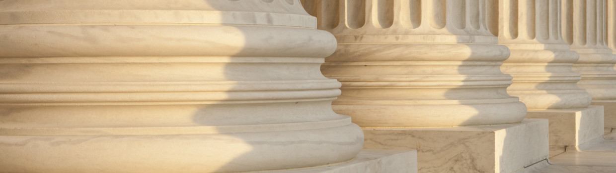 Row of four marble columns to signify litigation support services
